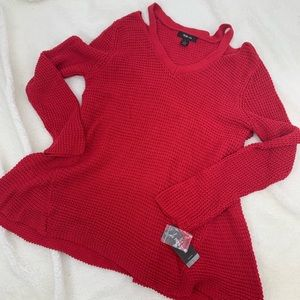 Style & Co Womens Large Sweater Cold Shoulder Red